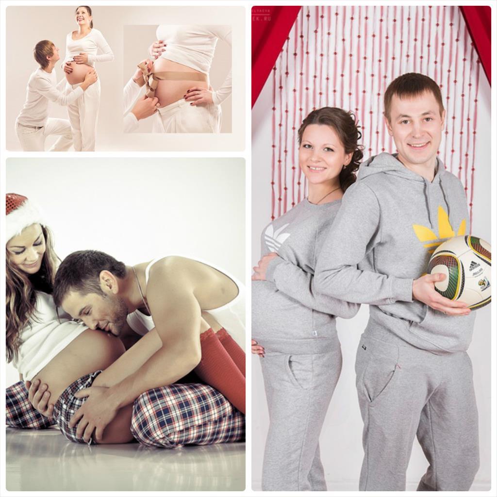 фотосессия беременных в студии с мужем