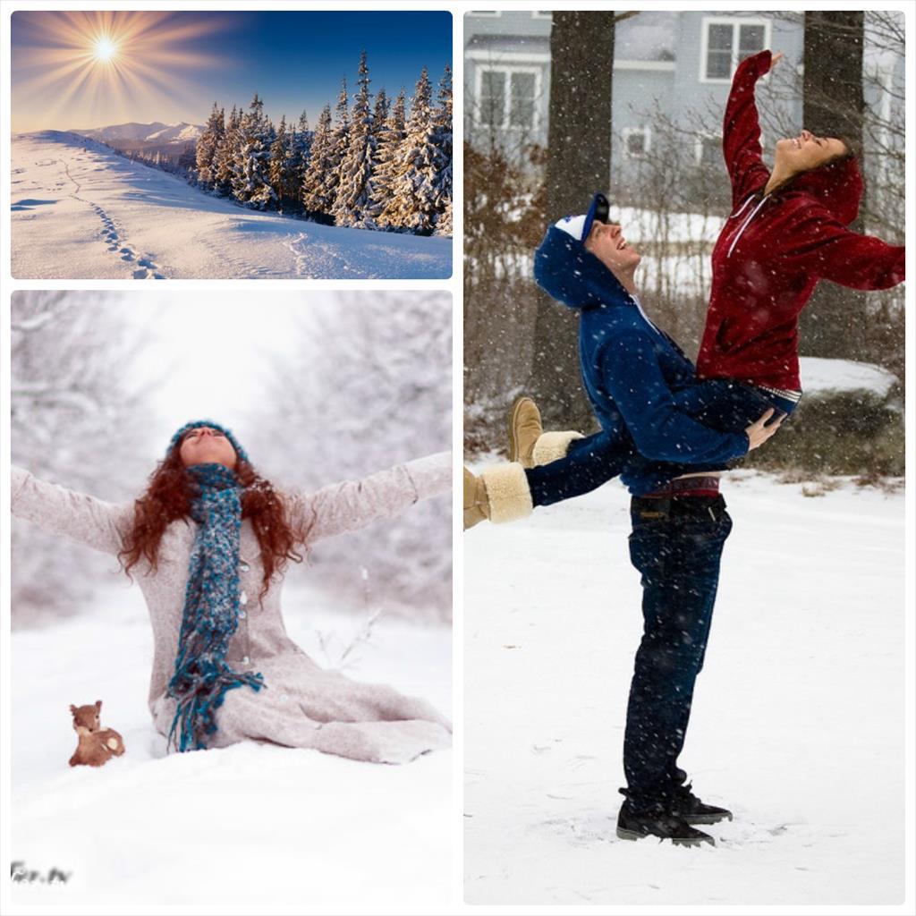 позы для фотосессии зимой в лесу