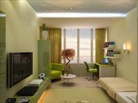 Интерьер зала в зеленых тонах